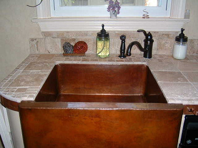 hammered farmhouse kitchen copper sink